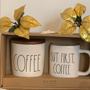 Rae Dunn COFFEE Canister And BUT FIRST COFFEE Set